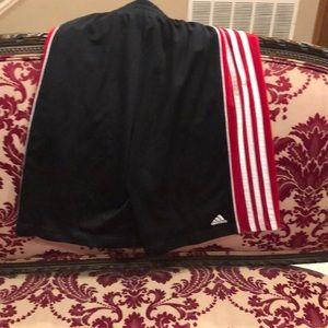 Black red and white Adidas shorts boys extra-large